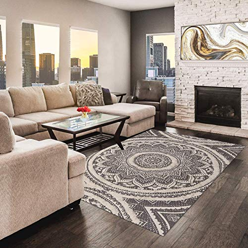 Ailsan Cotton Mandala Area Rug 4' x 6' Boho Woven Tufted Print Fringe Tassels Throw Rugs Chic Black and Cream Washable Welcome Door Mat Indoor Floor Rug for Bedroom Kitchen Living Room Carpet