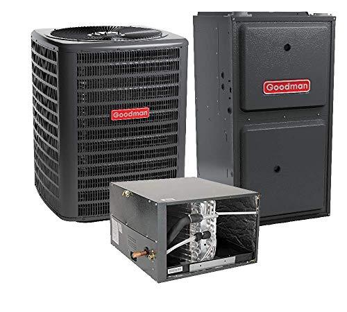 Goodman 2.5 Ton 14.5 SEER Air Conditioner GSX160301, Coil CHPF3642C6, 60,000 BTU 96% AFUE Horizontal Gas Furnace GMSS960603BN