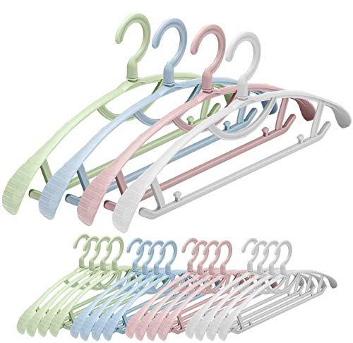 Senfhome Plastic Clothes Hanger Wide Shoulder Slip Resistant Pack of 20 PCS 4 Color