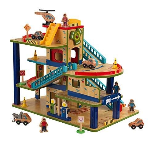 KidKraft Wash N Go Wooden Car Garage Playset, Multi