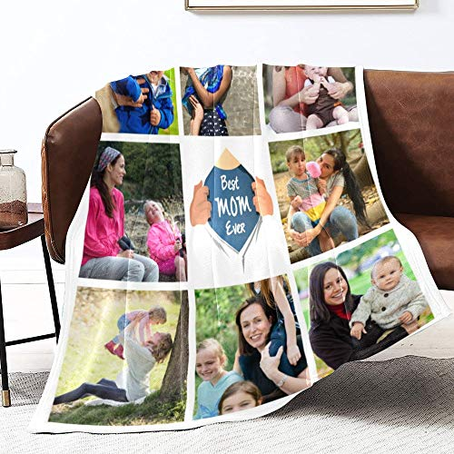 LolyishB Custom Collage Flannel Blanket - Best Mom Ever Blanket - Personalized Collage Throw Blanket for Mother's Day Birthday Gifts (50x60 inches, 8 Photos)