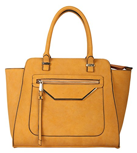 Rimen & Co. Shell Shape Tote Accented with Front Zippered Pocket Womens Purse Handbag GS-2993 Yellow