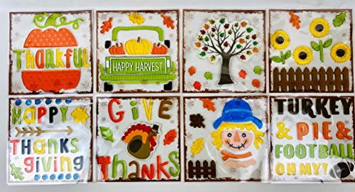 Thanksgiving Fall Gel Sticker Window Clings Bundle of 8 Assorted Packages