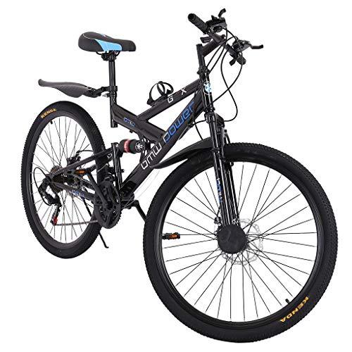 26 Inch Bike Carbon Steel Mountain Bike 21 Speed Bicycle Full Suspension MTB for Men/Women