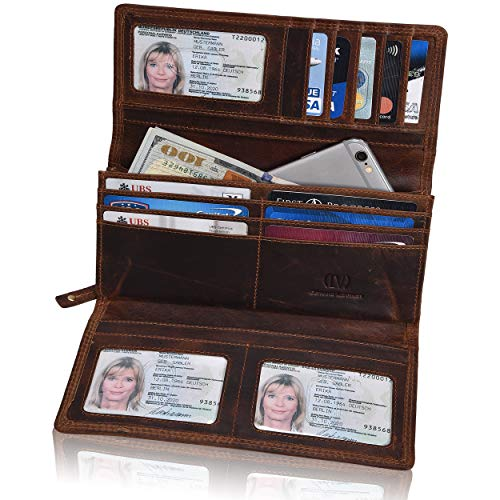 RFID Leather Clutch Wallet for Women-Credit Card Slots Coin Purse with ID Window - Handmade by LEVOGUE (Cognac Vintage)