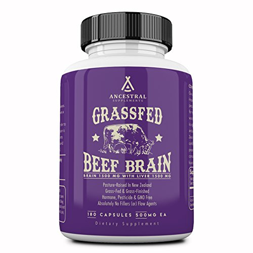 Ancestral Supplements Grass Fed Brain (with Liver) — Supports Brain, Mood, Memory Health (180 Capsules)