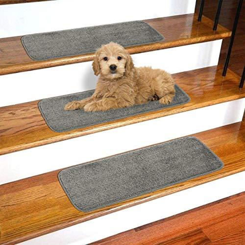 Ottomanson Softy Collection Non-Slip Solid Soft Design 14-Pack Stair Tread, 9' X 26', Dark Gray