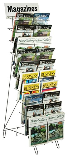 Floor-Standing Wire Literature Rack with 20 Tiered Pockets, Removable Dividers Accommodate Newspapers - Black