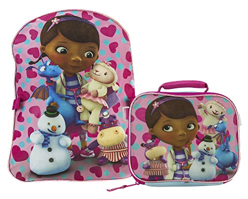 Fast Forward Little Girls' Doc Mcstuffins Backpack with Lunch Box, Blue/Pink, One Size
