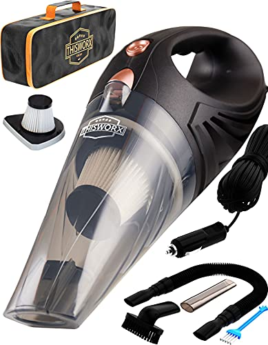 THISWORX Car Vacuum Cleaner - Portable, High Power, Handheld Vacuums w/ 3 Attachments, 16 Ft Cord & Bag - 12v, Auto Accessories Kit for Interior Detailing - Black