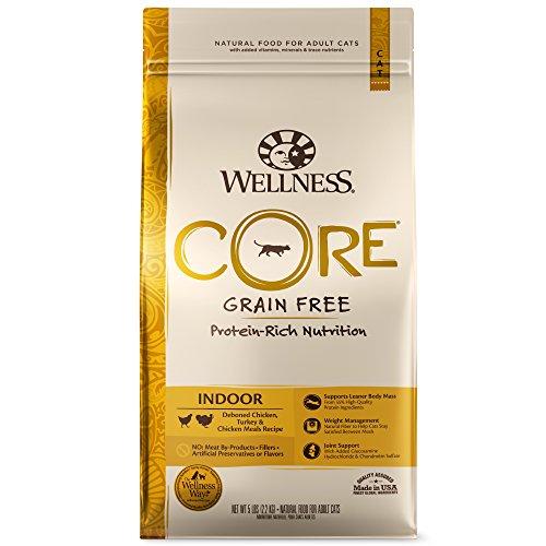 Wellness CORE Grain-Free Chicken, Turkey & Chicken Meal Indoor Formula Dry Cat Food, 5 Pound Bag