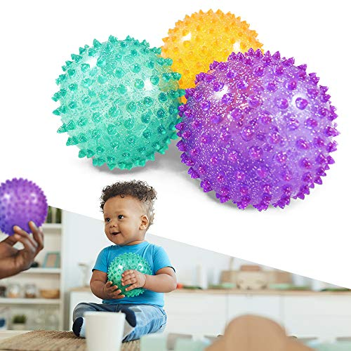 ARISE Knobby Spiky Playground Ball Set, Squeeze Fidget Toy Glittering and Fun for Kids in Playground and Indoor, 4 Inch
