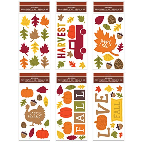 B-THERE Bundle of Harvest Fall Thanksgiving 5.5' x 12' Window Gel Clings Decorations