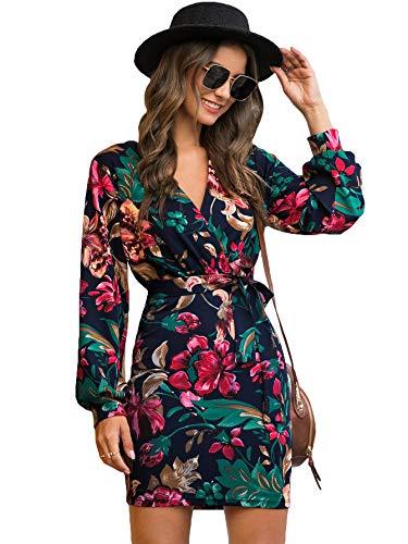 Floerns Women's V Neck Long Sleeve Belted Floral Print Wrap Dress Multi S