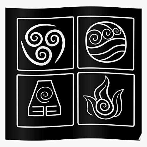 Elements Earth Water Four Air Symbols Avatar Fire Impressive Posters for Room Decoration Printed with The Latest Modern Technology on semi-Glossy Paper Background