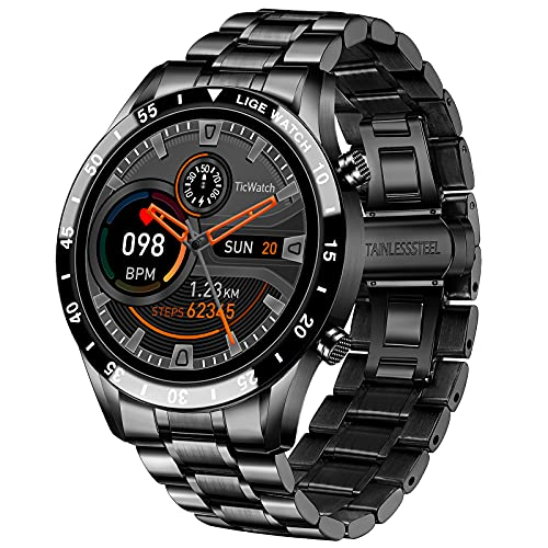 LIGE Smart Watch for Android iOS, Bluetooth Calls Voice Chat with Heart Rate/Sleep Monitor Fitness Tracker, 1.3' Full Touch Screen IP67 Waterproof Stainless Steel Activity Tracker for Men