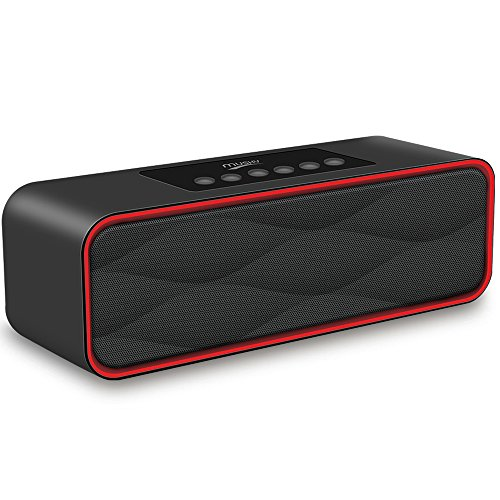 Portable Bluetooth Stereo Speaker, with 2X5W Dual Acoustic Drivers,FM Radio & Handsfree Speakerphone, Slots for Micro SD Card & USB & AUX, for Smart Phone, MP3, iPad, Tablet & More