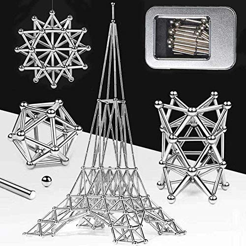 KAKALIN 100 - 300Pcs 3D DIY Magnetic Building Sticks Blocks Magnet Toys Construction Set Puzzle Stacking Game Sculpture Desk Gift Brain Training and Learning (200Pcs)