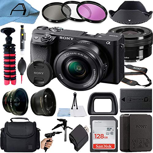 Sony Alpha a6400 Mirrorless Digital Camera 24.2MP Sensor with 16-50mm Lens, SanDisk 128GB Memory Card, Gadget Bag, Tripod and A-Cell Accessory Bundle