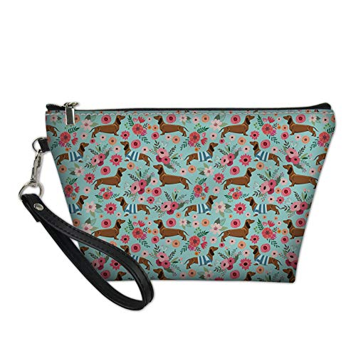 Tupalatus Multifunction Handbag PU Leather Clutch Makeup Bag with Pattern Zipper Hanging Cosmetic Bags for Women Travel Removable Wristlet Handle Train Case Dachshund Flower Printed for Girls