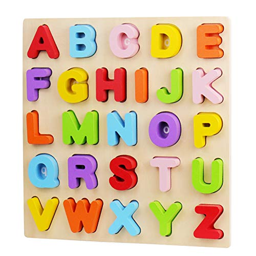 Alphabet Puzzle, WOOD CITY ABC Letter Puzzles for Toddlers1 2 3 Years Old, Educational Learning Toys for Toddlers, Alphabet Toys with Puzzle Board & Letter Blocks, Best Gifts for Girls and Boys