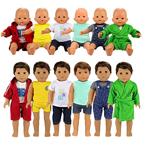 BARWA Boy Doll Clothes 6 Sets Boy Doll Clothes Daily Casual Clothes Outfits Compatible for 14 to 16 Inch Baby Doll and 18 Inch Boy Dolls