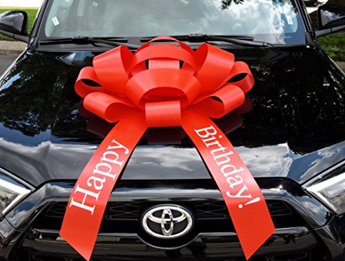 CarBowz Big Red Car Bow, Happy Birthday Bow, Giant 30' Bow, Non Scratch Magnet, Weather Resistant Vinyl