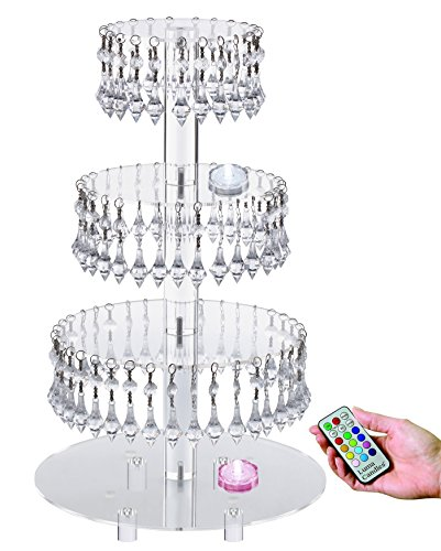 Pre-Installed Crystal Beads- 4 Tier Acrylic Cupcake Stand/Tower with Hanging Crystal Bead-wedding Party Cake Tower (4 tier With Feet+LED Light)