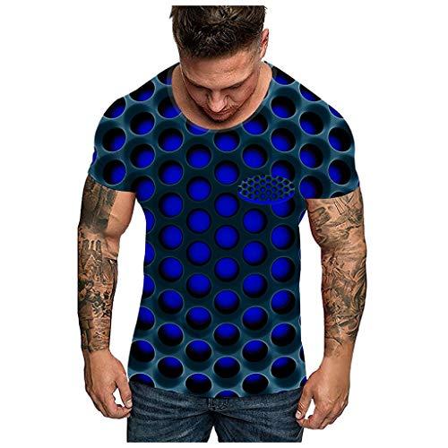 Men 3D Print O-Neck Short Sleeve T Shirt Fashion Unisxe Dizziness Funny Tees Top Blue