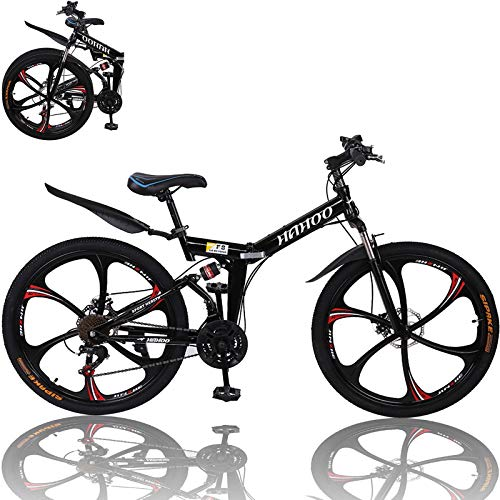 26 inch Adults Mountain Bike, Folding Bikes High-Carbon Steel Outdoor Adventures Wasteland Exercise Road Bikes with 21 Speed Dual Disc Brakes Full Suspension Non-Slip (Black Red)