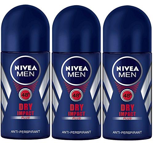 Nivea for Men Dry Impact Antiperspirant Deodorant Roll-on 50ml (3 Pack)