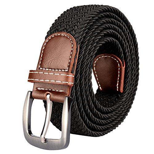 Drizzte Mens 59'' Plus Size Belts Big Tall Stretch Elastic Fabric Braided Waist Belt Black