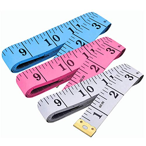 3 Pack Measuring Tape, Tape Measure for Body Double Scale Measurement Tape for Sewing, Body, Tailor 60 Inch/ 150 cm