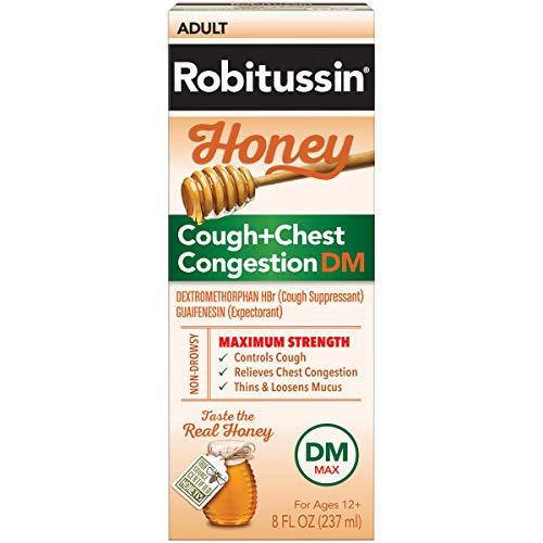 Robitussin Maximum Strength Honey Cough + Chest Congestion DM, Cough Medicine for Cough and Chest Congestion Relief Made with Real Honey for Flavor - 8 Fl Oz Bottle