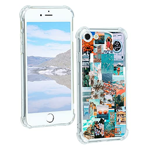 Case for iPhone 7/8/SE 2020, Vintage Vibe Collage Aesthetic Retro Beach Life is Good Case TPU Bumper Shockproof Protective Cover Case for Women Girls Support Wireless Charging