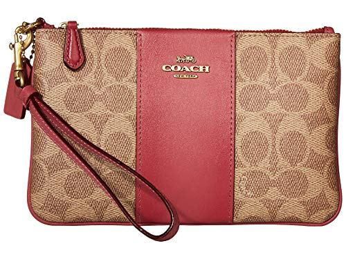 COACH Boxed Color-Block Signature Small Wristlet Tan Dusty Pink/Brass One Size