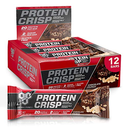 BSN Protein Bars - Protein Crisp Bar by Syntha-6, Whey Protein, 20g of Protein, Gluten Free, Low Sugar, Chocolate Crunch, 12 Count