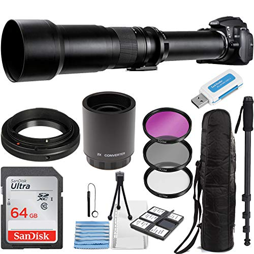 Commander Optics Super 650-1300mm / 2600mm (with 2X Teleconverter) f/8 Manual Telephoto Lens Zoom for Canon EOS EF-S DSLR Cameras + Photo Essential Accessory Kit