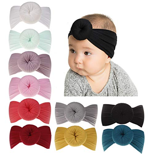 inSowni Newest Super Stretchy Nylon Bow Ball Turban Headbands Hairbands Headwraps for Baby Girls Toddlers Infants Newborns (10PCS S1)