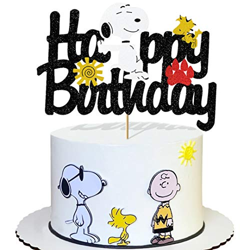 Glorymoment Cute Puppy Birthday Cake Topper for Girls Boys Kids Birthday Party Decor, Glitter Happy Birthday Cake Topper for Snoopy Theme Party, Cartoon Dog Theme Decorations (6.7'' x 4.76'')