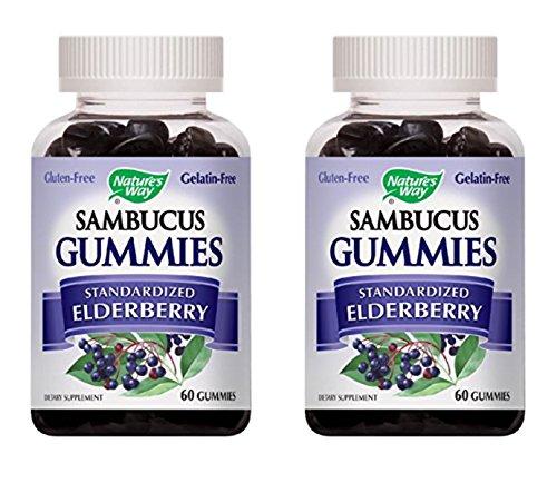 Nature's Way Sambucus Elderberry Gummies, Herbal Supplements with Vitamin C and Zinc, Gluten Free, Vegetarian, 60 Gummies (Packaging May Vary), Pack of 2