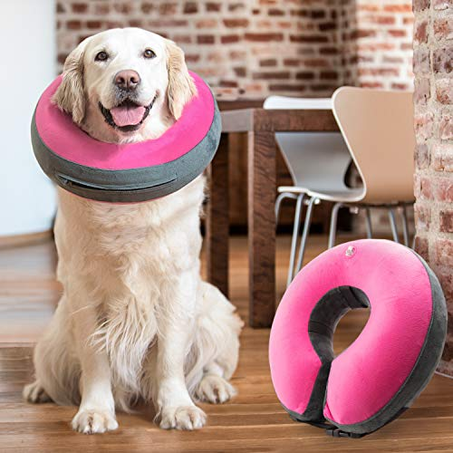 GoodBoy Comfortable Recovery E-Collar for Dogs and Cats – Soft Inflatable Donut Collar Designed for Protecting Small Medium or Large Pets Post Surgery or Wounds (Pink, 4)