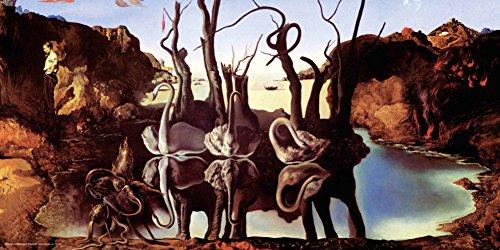 Salvador Dali Swans Reflecting Elephants Fine Surrealist Art Decorative Print (Unframed 12x24 Poster)