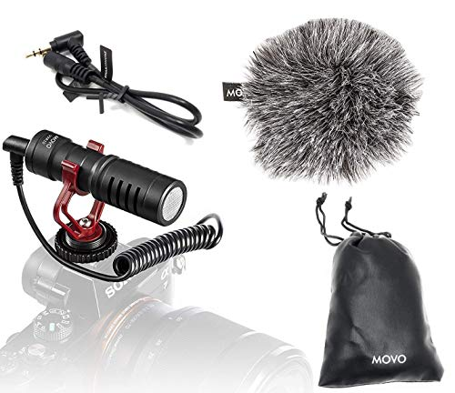 Movo VXR10 Universal Video Microphone with Shock Mount, Deadcat Windscreen, for iPhone, Android Smartphones, Canon EOS, Nikon DSLR Cameras and Camcorders - Perfect Camera Microphone, Shotgun Mic
