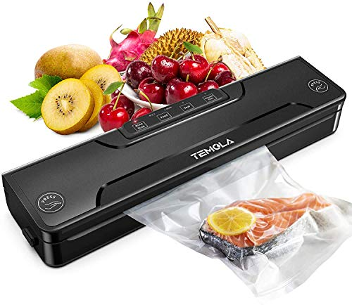 Vacuum Sealer Machine, TEMOLA Food Sealer Automatic Vacuum Sealing System for Food Preservation, 4 in 1 Food Saver Vaccum Sealer, Dry & Moist Food Modes, Starter Kit (Vacuum Sealer Bag X 20 included)