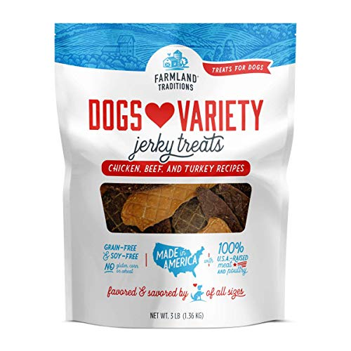 Farmland Traditions Filler Free Dogs Love Variety Premium Jerky Treats for Dogs, Chicken, Beef & Turkey, 3 lb. Bag