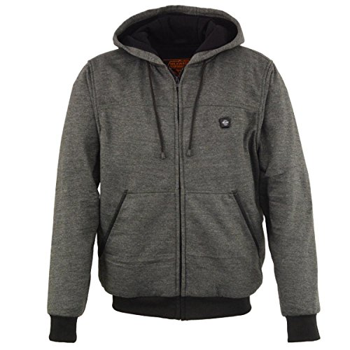 Milwaukee Leather Performance Mens Zipper Front Heated Hoodie w/Rechargeble Battery Pack Included (Grey, Medium)