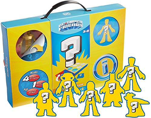 Fisher-Price Imaginext DC Super Friends Mystery Playcase, set of 6 surprise figures in a storage and display case for preschool kids ages 3 to 8 years
