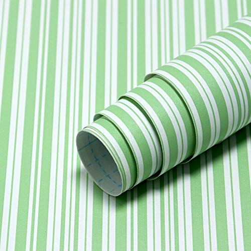 Guvana 17.7'x118' Green and White Contact Paper Stripe Wallpaper Peel and Stick Wallpaper Removable Contact Paper Line Self-Adhesive Wallpaper Modern DIY Wallpaper for Bedroom Shelves Liner Decor