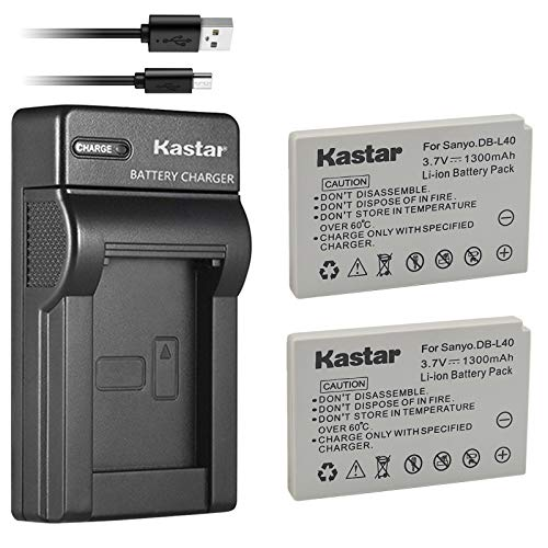 Kastar Battery (X2) & Slim USB Charger for Sanyo DB-L40, DB-L40AU and Sanyo Xacti DMX-HD1, DMX-HD1A, DMW-HD2, DMX-HD15, DMX-HD700, DMX-HD800, VPC-HD1, VPC-HD1A, VPC-HD1E, VPC-HD2, VPC-HD700, VPC-HD800